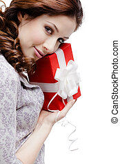Young woman is satisfied with a gift