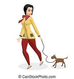 Young woman is walking with a dog. Girl with a dog on a leash. Vector flat cartoon illustration