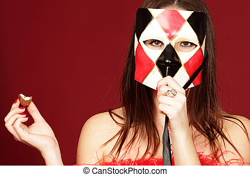 young woman isolated in mask