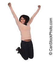 Young Woman Jumping In Joy