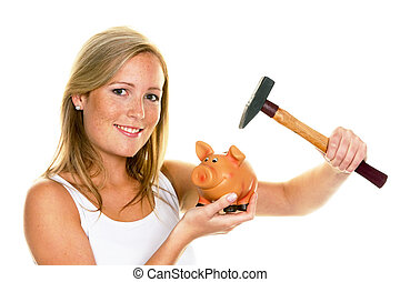 young woman kills her piggy bank