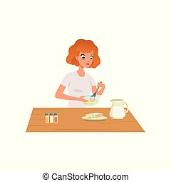 Young woman kneading dough, girl preparing healthy meal in kitchen vector Illustration on a white background