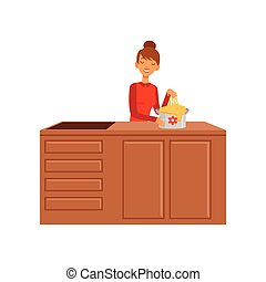 Young woman kneading dough, housewife girl cooking food in the kitchen flat vector Illustration