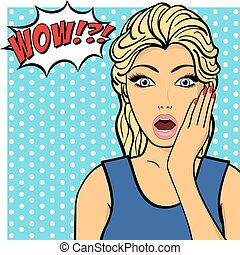 Young woman, lady in blue dress shows amazement, shok. Vector illustration. Pop art comic style
