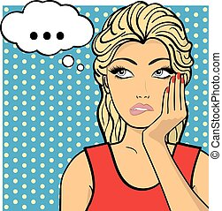 Young woman, lady shows dreaminess, muse. Vector illustration. Pop art comic style