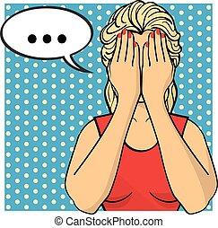 Young woman, lady with palms on her face. Crying girl in red dress. Vector illustration. Pop art comics style