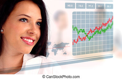 Young woman looking at a stock chart, working