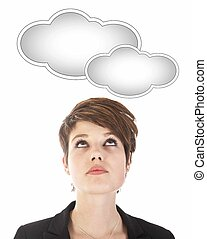 Young woman looking at cloud isolated on white background