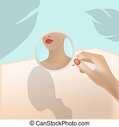 Young woman looking at herself in a round mirror. Palm leaf and turquoise color background
