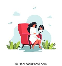 Young woman looking at herself in mirror sitting on a chair. Girl looking herself reflection in mirror. Smiling girl looking at herself in mirror. reflection concept. Vector illustration
