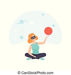 Young woman looking at planets in Universe wearing virtual reality digital glasses, girl using optical device for real visualisation and simulation vector Illustration on a white background