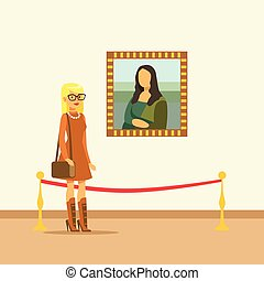 Young woman looking at the painting hanging on gallery wall, people viewing museum exhibit