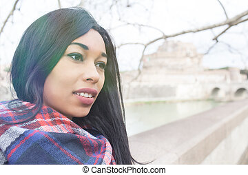 Young Woman Looking Over
