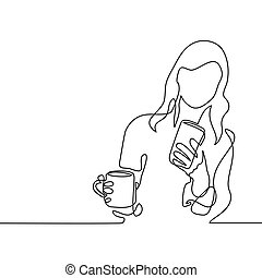 Young woman looking smart phone - Continuous line drawing....