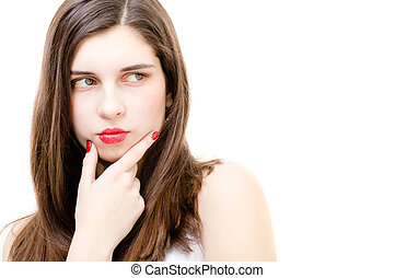 Young woman looking to copy space thoughtful