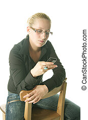 Young woman looking to mobile phone