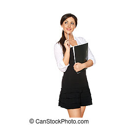 young woman looks like a student
