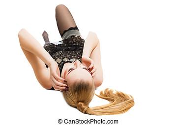 Young woman lying down