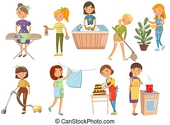 Young woman making different domestic works, housewife cleaning, cooking, washing, Ironing, cooking cartoon vector Illustrations