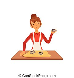 Young woman making pastry, housewife girl cooking food in the kitchen flat vector Illustration
