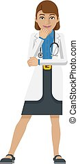 Young Woman Medical Doctor Cartoon Mascot
