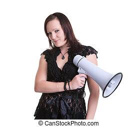 young woman megaphone or bullhorn