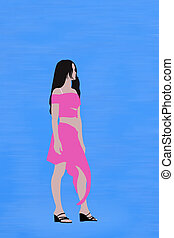 young woman model silhouette