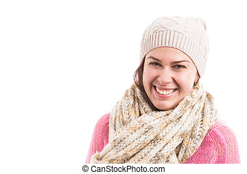 Young woman model wearing knitted scarf and hat smiling happy