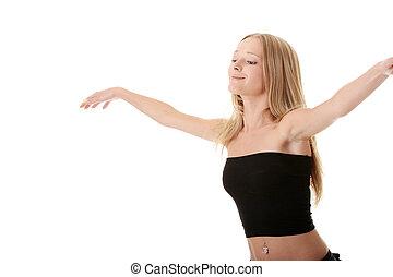Young woman modern dancing