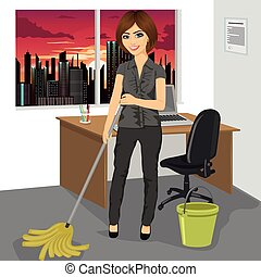 Young woman mopping floor with bucket and mop in office -...