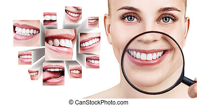 Young woman near collage with health teeth.