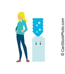 Young woman near office water cooler