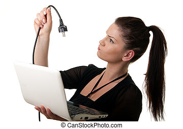 young woman netbook powercable - a young woman holding a ...
