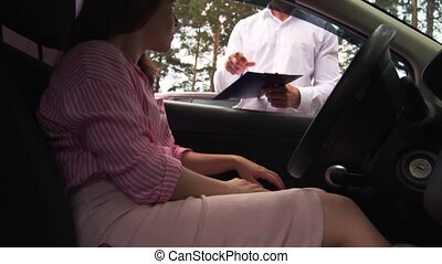 Owner Of A Car Signed Documents On The Purchase
