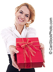 young woman offering a present