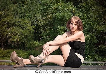 young woman on a bridge II