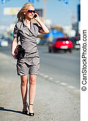 Young woman on a city street