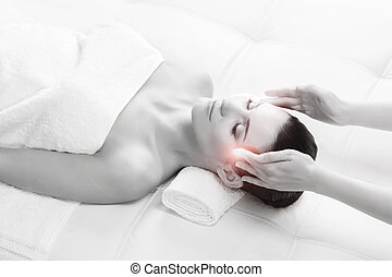 Young woman on a head massage therapy - Healthy Beautiful...