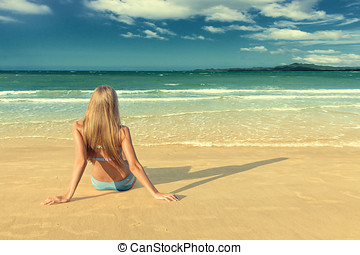 Young woman on beach
