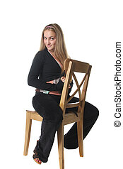 Young woman on chair