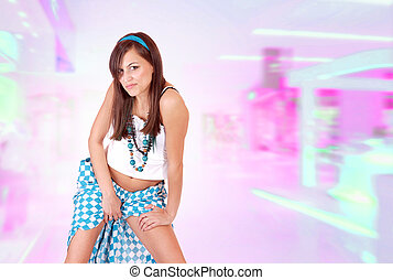Young Woman On Pink Background
