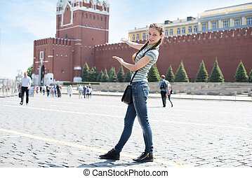 Young woman on Red Square