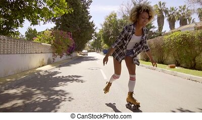 Young Woman On Roller Skates Enjoying The Summer - Slow...