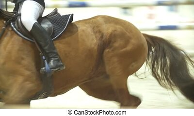 Young woman on the black stallion jumping over hurdle at...