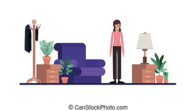 young woman on the livingroom