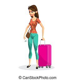 Young woman on vacation with a pink rolling suitcase. Girl tourist in travel. Flat isolated vector illustration