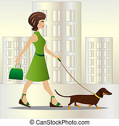 young woman on walk with dog