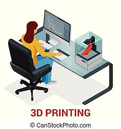 Young woman or school girl print 3D model on 3D printer. Development and printing of clothing. Vector isometric illustration.