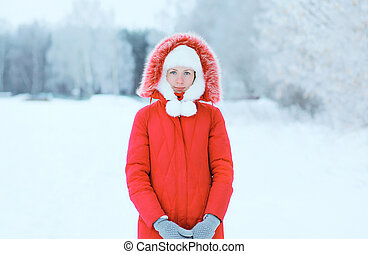 Young woman outdoors in winter day