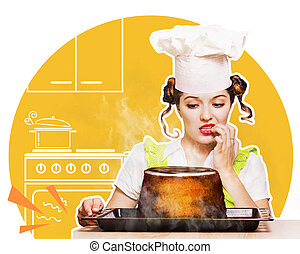 Young woman overlooked cake in the oven - Young housewife...